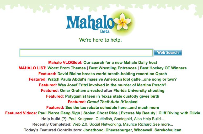 Mahalo screenshot