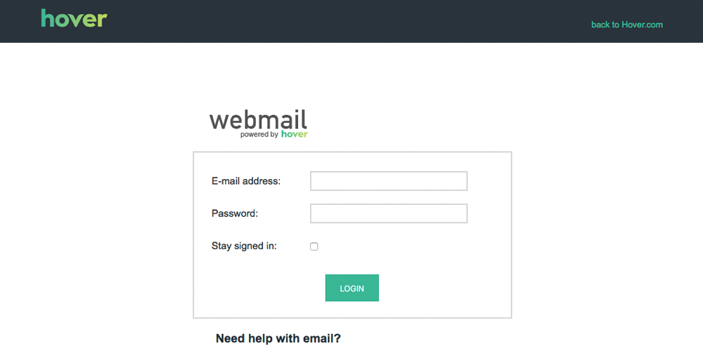 new hover webmail login