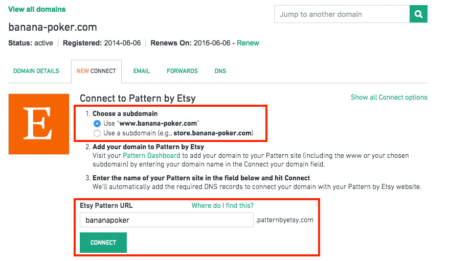 configure etsy pattern domain
