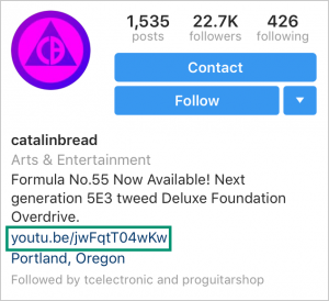 instagram changed bio link example